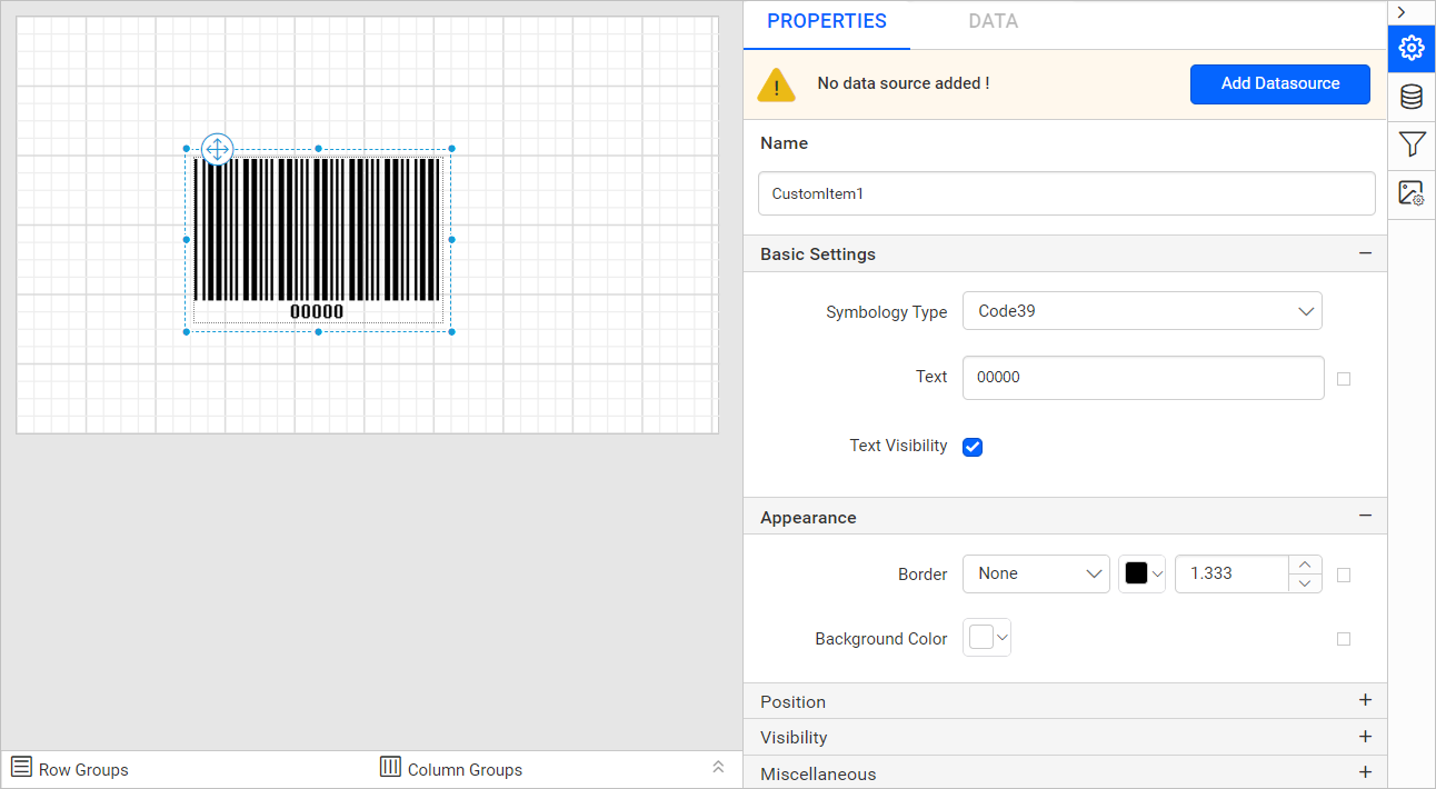 Barcode item with properties view