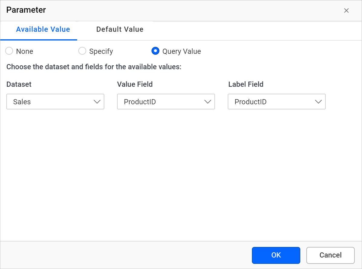 Available values query value fields