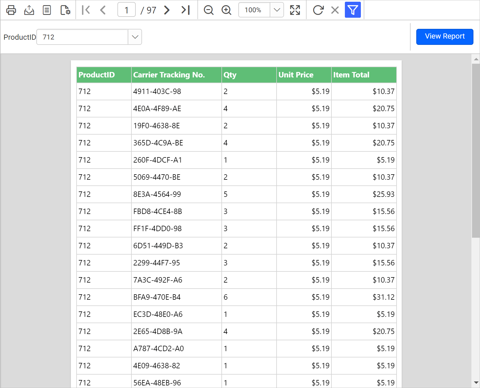 Filter product id values